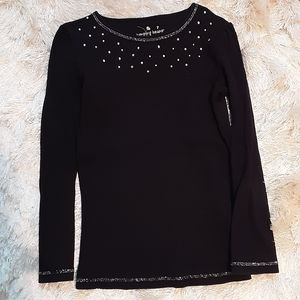 Jumping Beans Girls Black Top With Sparkles Size 7